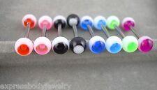"1 PIECE 14g 5/8"" Evil Eye Dot UV Acrylic Tongue Nipple Barbell Ring"