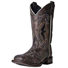 Laredo Western Boots Womens Snake Print Sanded Goat Black Tan 5660
