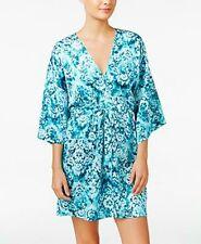 Linea Donatella Jade Medallion Print Satin Charmeuse Wrap Short Robe S/M,L/XL