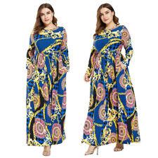 Muslim Abaya Women Long Sleeve Maxi Dress Floral Kaftan Party Beach Plus Size