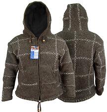 Braun Hippie Boho Retro Aus Wolle Cru Hand Made Nepalesisch Warme Jacke