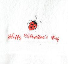 Personalized Embroidered LadyBug Valentine's White Hand Bathroom Towel