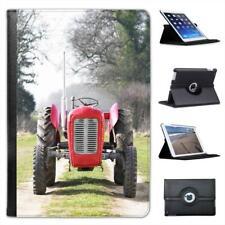Red Tractor In Field Folio Leather Case For iPad Mini & Retina