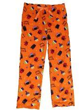 Womens Orange Fleece Halloween Sleep Pants Kitty Cupcake Pajama Bottoms