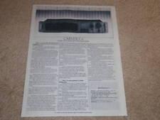 Carver C-1 Preamp Spec Sheet,1 pg, Info,1987