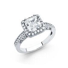 14K White Gold 1.25 CT Diamond Square Princess Cushion Cut Engagement Ring