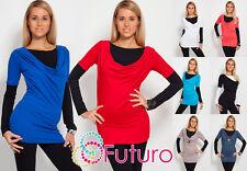 Trendy & Plain Women's Tunic Long Sleeve Cowl Neck Mini Dress Top Size 8-12 2035