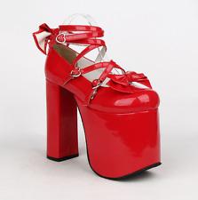 Ladies Lolita Gothic Punk Straps Shoes 15cm Chunky High Heel 5 Colors Pumps Hot