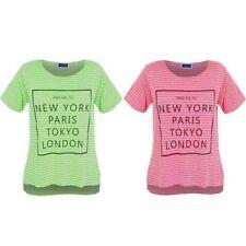 Bambini New York Londra Parigi Tokyo a Strisce con Stampa Alto Basso Top T-Shirt