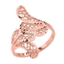 Pure 14k Rose Gold Diamond Cut Filigree Leaf leaves Ring