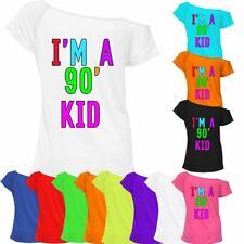 I'M A 90' Kid T Shirt Top Ladies Off Shoulder Retro Festival Party Tee 7021 Lot