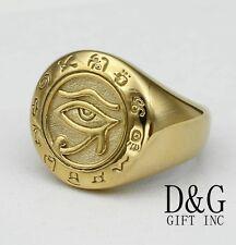DG Men's Stainless Steel Gold,Egyptian Eye Ring, 8.9 10,11,12,BOX