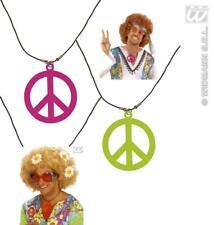 COLLAR, CADENA NEÓN paz hippie, Flower, década de los 70 años, Lema 5007