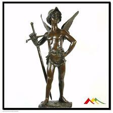bronze sculpture Love & Peace winged boy w/ sword, SIGNED Marcel Debut