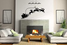 SANTA SLEIGH REINDEER Christmas/ X-mas wall/window sticker/decal wall art modern