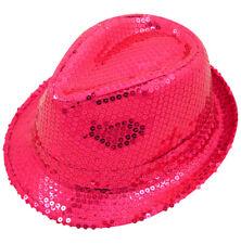 Ladies Pink  Fancy Dress Gangster Hat Fedora Trilby Sequin Cap Hen  Dance Party