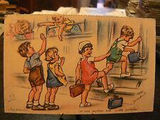 cpa illustrateur signée germaine bouret les veinards depart en vacances train