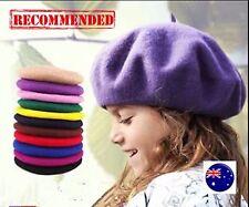 Girl Children Kids Wool blend Winter warm french Artist Round Beret hat Cap 3-11