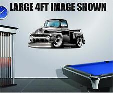 1950 Ford F1 Truck  Streetrod Cartoon Car Decal Graphic Corhole Tool Box Trailer