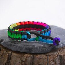 Paracord Survival Bracelet - Mad Max Inspired - Adjustable - Rainbow
