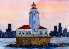 Chicago Harbor Lighthouse, Illinois. Lake Michigan Sunset. Watercolor Art Prints