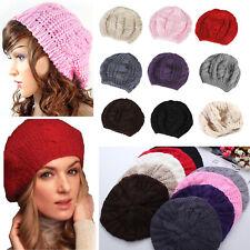 Women Men Knitted Woolly Winter Oversized Slouch Knit Beanie Ski Hat Slouch Cap