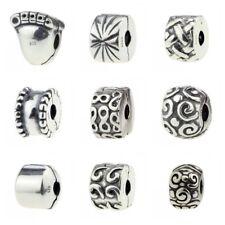 925 Sterling Silver Charm Mix Clip Footprint Fit 3mm European Bracelet