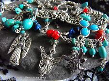 FAIRY Guardien ANGEL Lapis lazuli turquoise pearl gemstone necklace bracelet