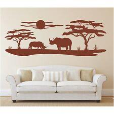 Landschaft Wandtattoo  Nashorn Afrika Affenbrotbaum Wüste Wandaufkleber Sticker