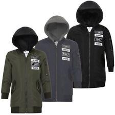 Kids longline bomber MA1 teen school fermeture éclair détacher capuche veste matelassée 3-14 ans