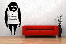 Fascinante de arte de pared Pieza Banksy Monkey Reir pegatinas de pared de 30cm X 60cm Reino Unido
