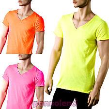 T-shirt maglia maglietta UOMO scollo V cotone colori FLUO fluorescenti CC-211