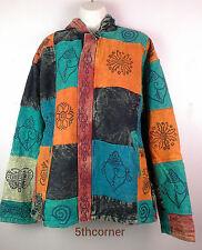 Vintage gheri Boho capucha de algodón chaqueta con forro de borreguillo Festival Hippy Hecho A Mano vcj7