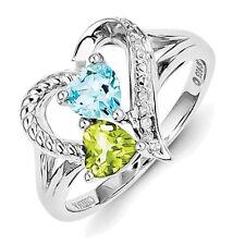 Sterling Silver Blue Topaz Peridot Diamond Ring  QR5831
