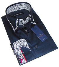 Nuova Da Uomo Elegante, Blu Navy con bianco Doppio Collo Camicia Aderente