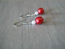 Boucles d'Oreilles couleur Ivoire/Rouge Mariage/Mariée/Soirée p robe perle