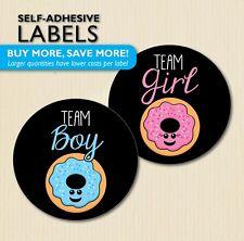 Donut Gender Reveal Party Stickers, Doughnut Baby Shower, Black, Team Boy/Girl