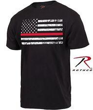 Black Thin Red Line Firefighters Tee Shirt - Mens Short Sleeve Firemans T-Shirt