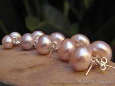 Lilac Lavender Pearl Stud Earrings - 925 SOLID Silver