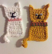 "Cat Fridge Refrigerator Magnet White or Yellow Hand Crochet Crocheted 2 1/2"" X 5"