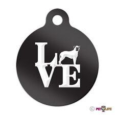 Love Bullmastiff Engraved Keychain Round Tag w/tab park Many Colors
