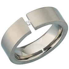 Damen Ring Titan Titanring mattiert 1 Diamant Brillant 0,03ct.