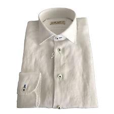 ICON LAB 1961 camisa de hombre manga larga en blanco 100% lino asola colorida
