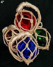 """4"""" Fish Net Buoys Glass Ball Floats~Nautical Beach Coastal Seashore Decoration"""