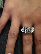 Dolce Jewels A13 - 08  Swarovski Elements Crystal Statement  Black Acrylic Ring