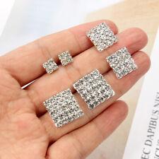 2-5 Rows Rhinestone Bling Square Stud Earrings For Women Wedding Bridal Earring