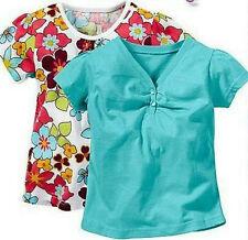 Süße Mädchen Top 2er Pack Shirt 92/98 104/110 116/122 Aqua und Weiß/Blumen Neu