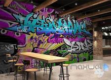 3D Graffiti Blue Letters Wall Paper Art Murals Print Decals Decor Wallpaper