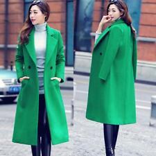 Women Winter Warn Trench Woolen Coat Parka Long Slim Outwear Lapel Jacket Korean