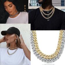 Hip Hop Gold Silver Ice Out Necklace Miami Cuban Diamond Choker Pendant Jewelry